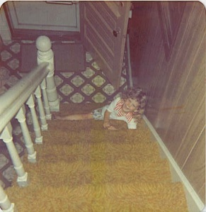 Our daughter on the stairs